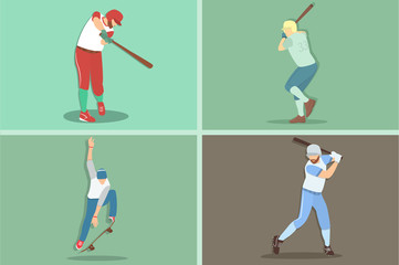 Baseball player and skater. cartoon character