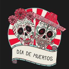 Two sugar skulls vector illustration for Day of the Dead
