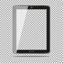 Realistic Tablet PC Computer with Transparent Screen Isolated on Background. Can Use for Template, Project, Presentation or Banner. for your web design