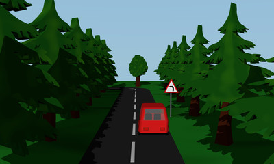 Darstellung der Straßensituation Kurve Links  mit  deutschem Verkehrsschild und roten Auto.