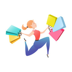 Young woman with shopping bags isolated on white background. Happy customer is jumping holding packages with purchases. Smiling shopper. Sale, deal, discount concept. Cartoon vector illustration.