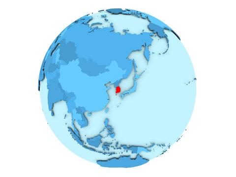 South Korea on blue globe isolated
