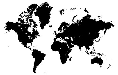 Foto op Plexiglas Wereldkaart World map isolated on a white background, highly detailed vector illustration. All elements are easily editable and located in separate layers