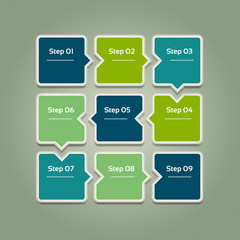 Vector progress background. Template for diagram, graph, presentation and chart. Business concept with 9 options, parts, steps or processes. Abstract background. eps 10.