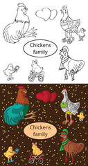 fashionable family chickens and cock