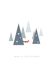 Christmas card vector template with winter landscape and fox between snowy trees.