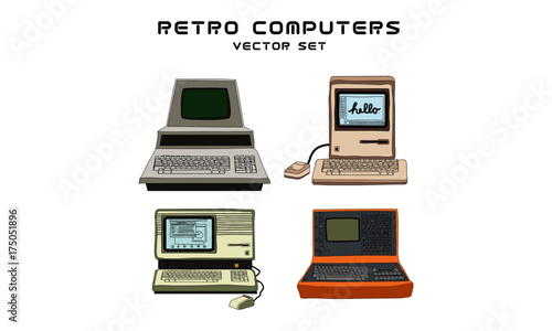 Retro Computer Set of Four
