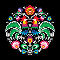 Polish vector folk art floral round embroidery with roosters, traditional pattern - Wycinanki Lowickie on black