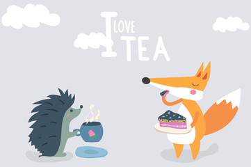 Hedgehog drinking tea, and the Fox eat the cake. I love to drink tea. vector