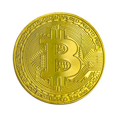 Golden bitcoin isolated on white background. Virtual money