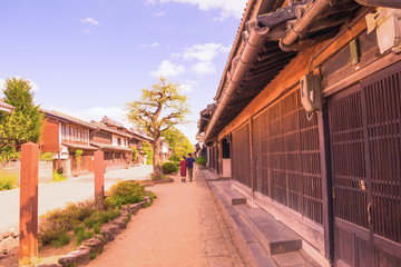 The old  town  of Unno-juku is a post town and dozens of old buildings have been beautifully preserved  for the travelers of Hokkoku Road in Tomi-shi, Nagano Prefecture, JAPAN.