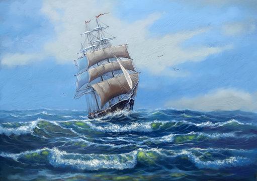 Ship, sea oil paintings landscape, art