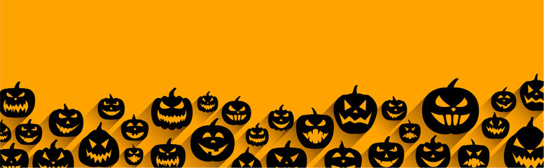 Halloween banner with pumpkin faces pattern.