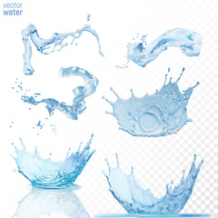 Water splashes on transparent blue background.