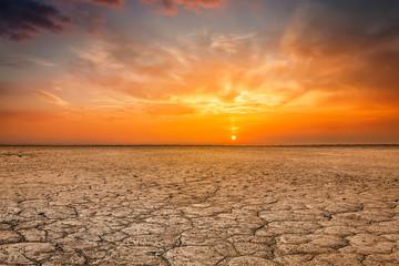 Photo sur Plexiglas Secheresse Cracked earth soil sunset landscape