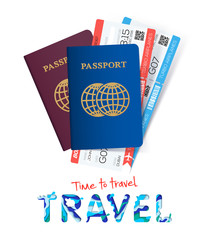 Two passport with tickets. Time to travel concept. International passport. Documents for travel and tourism. Vector