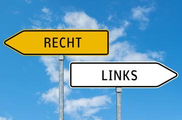Umleitungsschild Links oder Rechts