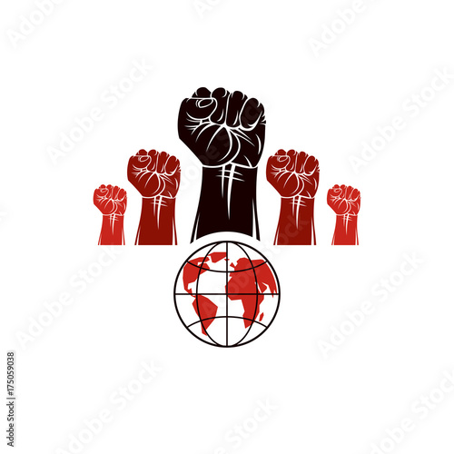 Clenched Fists Of Angry People Vector Emblem Composed With Earth