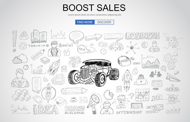 Boost Sales concept with Business Doodle design style: online carts, sales and offers, best timing.