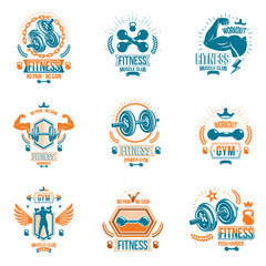 Vector power lifting theme emblems and motivational flyer templates collection made using dumbbells, kettle bells sport equipment and bodybuilder body silhouettes.