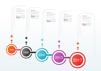 Vector infographics timeline design. Template with circular labels. Company Milestones. Background for business, infographic, diagram, flowchart, process, time line.