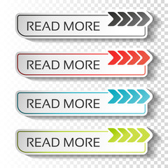 Vector read more buttons with arrow pointer. Black, blue, red and green labels. Stickers with shadow on transparent background for business, information page, menu, options, navigation.