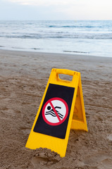 banned bathing sign