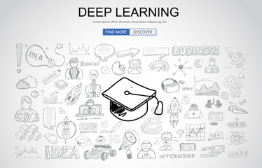 Deep Learning concept with Business Doodle design style: online formation, AI webinars, neural nets.