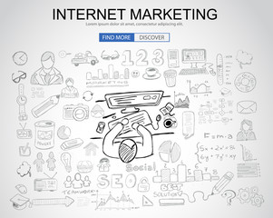 Internet Marketing concept with Business Doodle design style: online carts, sales and offers, best timing.