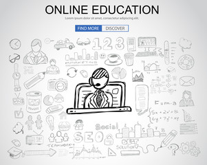 Online Education concept with Business Doodle design style: online formation, webinars
