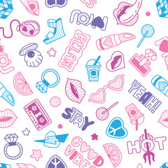 Vector doodle girly seamless pattern, texture or background