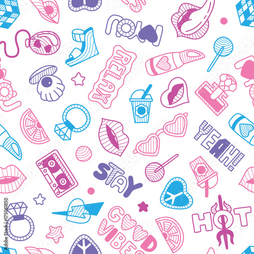 vector doodle girly seamless pattern texture or background