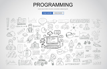 Programming concept with Business Doodle design style: online resources, coding skills, elearning tips.