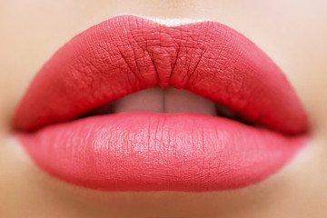 bright coral beautiful lipstick, gloss on the lips, open mouth, cosmetics, makeup, advertising, close-up, make-up artist