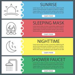 Sleeping accessories web banner templates set