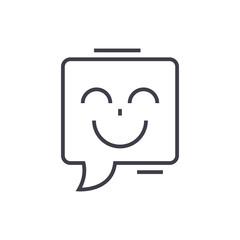 smile chat vector line icon, sign, illustration on white background, editable strokes