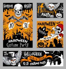 Halloween horror skull poster, night party design