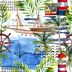 Wall Murals Watercolor Nature Watercolor adventure seamless pattern in marine style.