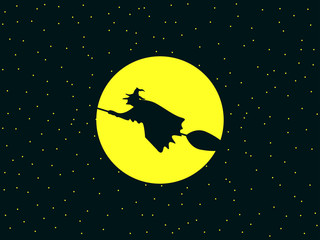 A witch flying on a broomstick against the background of the moon. The sorceress with a broom to Halloween. Vector illustration