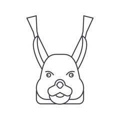 squirrel head vector line icon, sign, illustration on white background, editable strokes