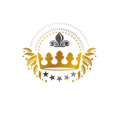 Royal Crown emblem. Heraldic Coat of Arms decorative logo isolated vector illustration. Ancient logotype in old style on white background.