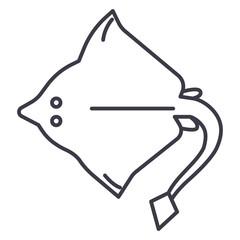 stingray vector line icon, sign, illustration on white background, editable strokes