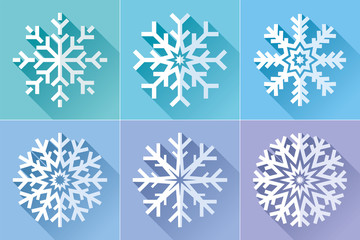 Snowflake icon set in flat style. Сold colors background. Ice crystals. Vector winter design element for you Christmas and New Year's projects