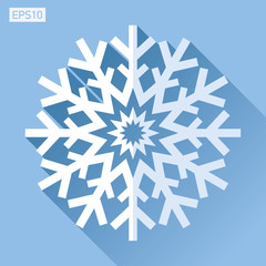 Snowflake icon in flat style on color background. Ice crystal. Vector winter design element for you Christmas and New Year's projects