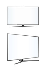 LED tv television screen blank on white background