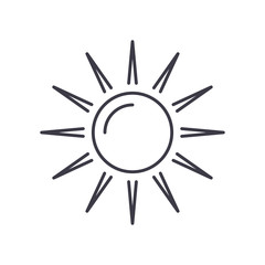 sun vector line icon, sign, illustration on white background, editable strokes