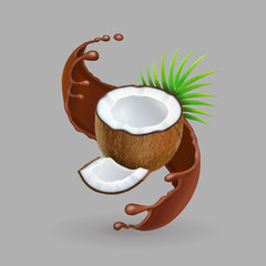 Coconut in chokolate splash Realistic 3d vector illustration
