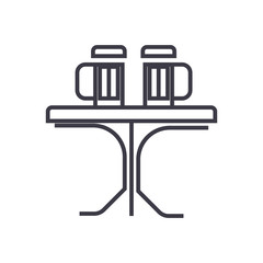 table with beer, pub vector line icon, sign, illustration on white background, editable strokes