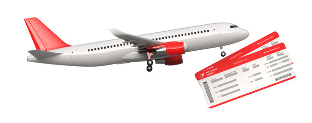 Side view of commercial airplane, airliner with two airline, air flight tickets . Passenger plane take Off, 3D rendering isolated on white background. With space for text.