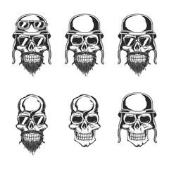 Isolated illustration of biker skulls. Raster copy.